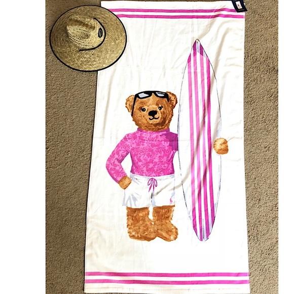 Ralph Lauren Mens Beach Towel: Polo Bear Beach Towel Pink